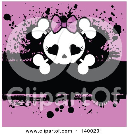 Clipart of a Girly Skull with Heart Eyes and a Bow over Pink and Black Grunge - Royalty Free Vector Illustration by Pushkin