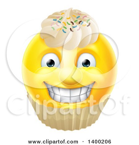 Clipart of a Yellow Male Smiley Emoji Emoticon Face Cupcake with Sprinkles and Frosting - Royalty Free Vector Illustration by AtStockIllustration