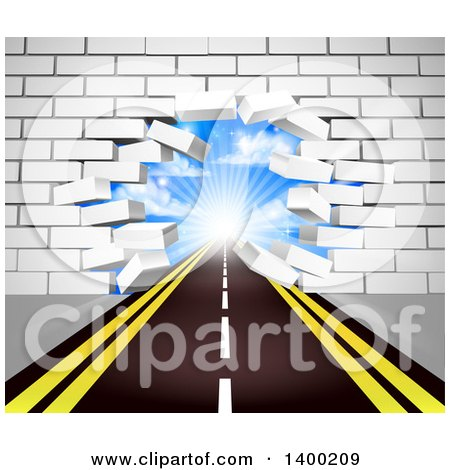 Clipart of a Road Leading Through a Hole in a 3d White Brick Wall - Royalty Free Vector Illustration by AtStockIllustration