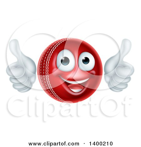 Clipart of a 3d Happy Cricket Ball Mascot Character Giving Two Thumbs up - Royalty Free Vector Illustration by AtStockIllustration