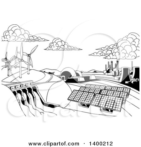 Clipart of a Black and White Landscape of Renewable Energy Plants with a Dam, Solar Panels, Wind Turbines, Coal Plants and Nuclear Plants - Royalty Free Vector Illustration by AtStockIllustration