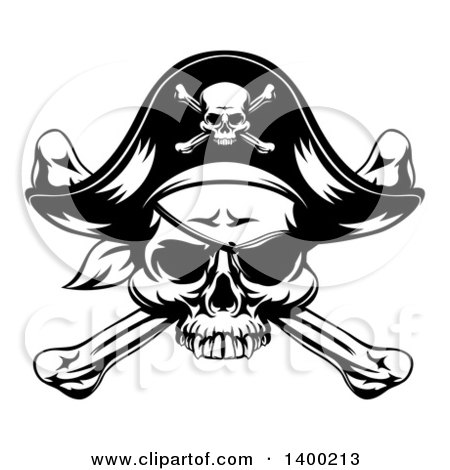 Clipart of a Black and White Skull Wearing an Eye Patch and Pirate Hat over Crossbones - Royalty Free Vector Illustration by AtStockIllustration