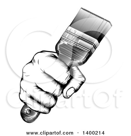 Clipart of a Retro Black and White Woodcut Fisted Hand Holding up a Paintbrush - Royalty Free Vector Illustration by AtStockIllustration