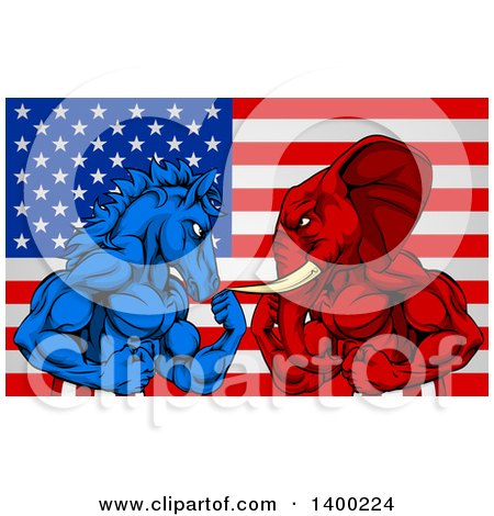 Clipart of a Muscular Political Aggressive Democratic Donkey or Horse and Republican Elephant Battling over an American Flag - Royalty Free Vector Illustration by AtStockIllustration