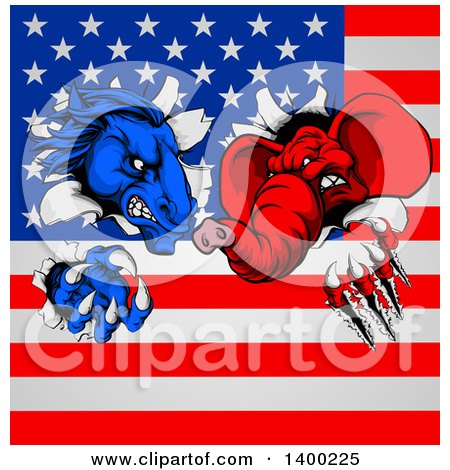 Clipart of a Fierce Political Aggressive Democratic Donkey or Horse and Republican Elephant Shredding Through an American Flag - Royalty Free Vector Illustration by AtStockIllustration