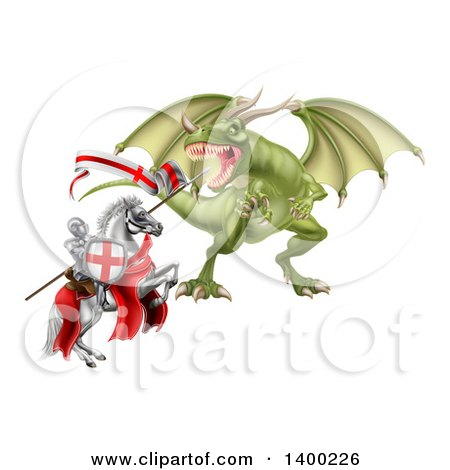 Clipart of a Medieval Knight, Saint George, on a Rearing White Horse, Fighting a Dragon - Royalty Free Vector Illustration by AtStockIllustration