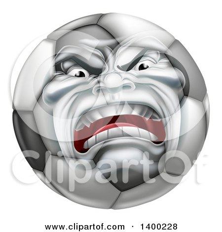 Clipart of a Furious Soccer Ball Character Mascot - Royalty Free Vector Illustration by AtStockIllustration