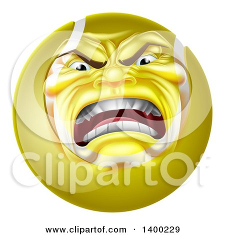 Clipart of a Furious Tennis Ball Character Mascot - Royalty Free Vector Illustration by AtStockIllustration