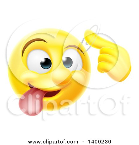 Clipart of a Yellow Emoji Smiley Emoticon Making a Screw Loose Gesture - Royalty Free Vector Illustration by AtStockIllustration