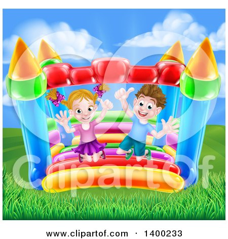 Clipart of a Cartoon Happy Caucasian Boy and Girl Jumping on a Bouncy House Castle - Royalty Free Vector Illustration by AtStockIllustration