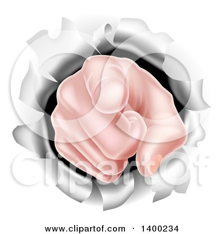 Clipart of a Cartoon Caucasian Hand Pointing Outwards, Breaking Through a Wall - Royalty Free Vector Illustration by AtStockIllustration