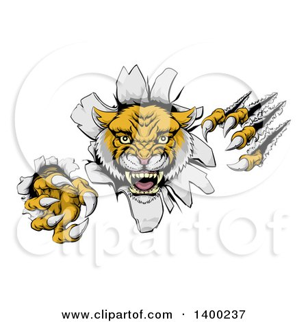 Clipart of a Vicious Roaring Wild Cat Slashing Through a Wall - Royalty Free Vector Illustration by AtStockIllustration