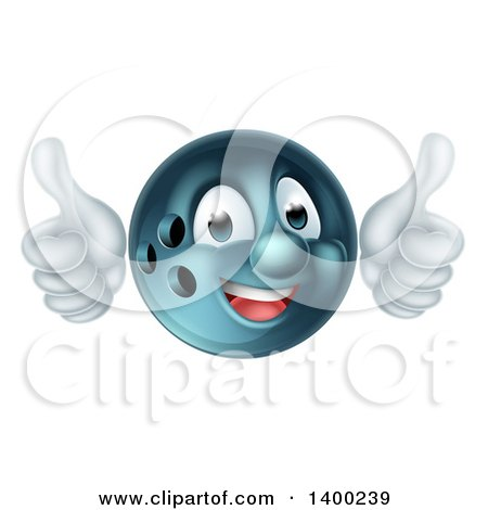 Clipart of a Happy Bowling Ball Character Mascot Giving Two Thumbs up - Royalty Free Vector Illustration by AtStockIllustration
