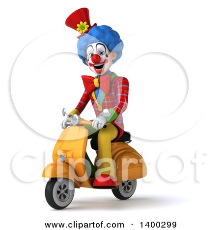 Clipart of a 3d Colorful Clown, on a White Background - Royalty Free Illustration by Julos