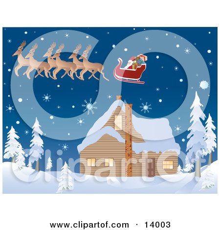 Santa's Reindeer Pulling His Sleigh While Flying Over a House Covered in Snow on the Night Before Christmas Clipart Illustration by Rasmussen Images