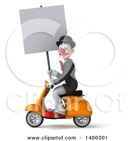 Clipart of a 3d White and Black Clown, on a White Background - Royalty Free Illustration by Julos