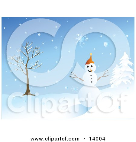Friendly Snowman With Eyes Of Coal And A Carrot Nose, Wearing An Orange Hat And Standing Between A Bare Tree And Snow Flocked Evergreens Clipart Illustration by Rasmussen Images