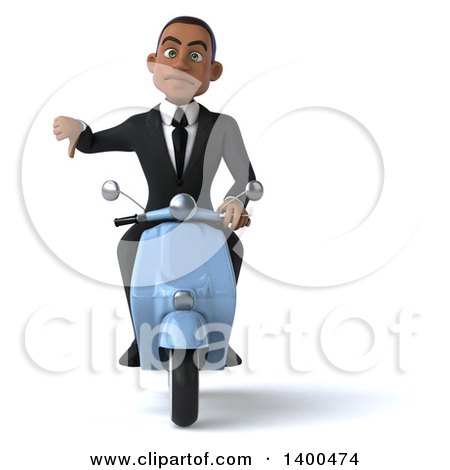 Clipart of a 3d Young Black Business Man on a Scooter, on a White Background - Royalty Free Illustration by Julos