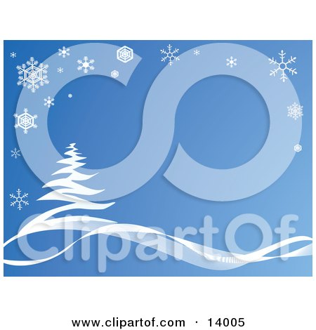 Snowflakes Bordering a Scene of a Snow Flocked Tree in the Winter, Blue Tones Posters, Art Prints