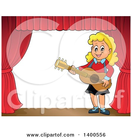 Clipart of a Happy Blond Caucasian Girl Playing a Guitar on Stage - Royalty Free Vector Illustration by visekart