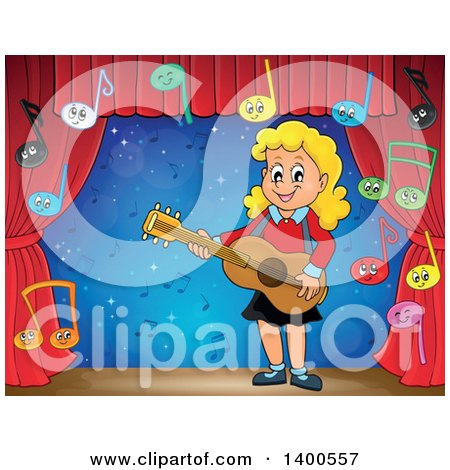 Clipart of a Happy Blond Caucasian Girl Playing a Guitar with Music Notes on Stage - Royalty Free Vector Illustration by visekart