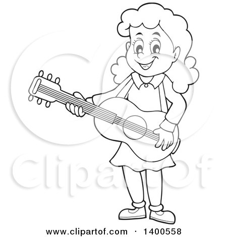 Clipart of a Happy Black and White Lineart Girl Playing a ...
