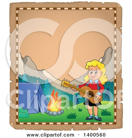 Clipart of a Parchment Border of a Happy Blond Caucasian Girl Playing a Guitar by a Campfire - Royalty Free Vector Illustration by visekart