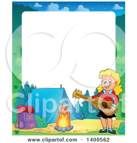 Clipart of a Border of a Happy Blond Caucasian Girl Playing a Guitar by a Campfire - Royalty Free Vector Illustration by visekart