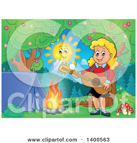 Clipart of a Happy Blond Caucasian Girl Playing a Guitar by a Campfire - Royalty Free Vector Illustration by visekart