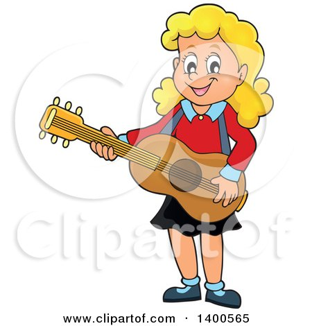 Clipart of a Happy Blond Caucasian Girl Playing a Guitar - Royalty Free Vector Illustration by visekart