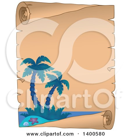 Clipart of a Parchment Scroll Border of a Tropical Island with Palm Trees - Royalty Free Vector Illustration by visekart