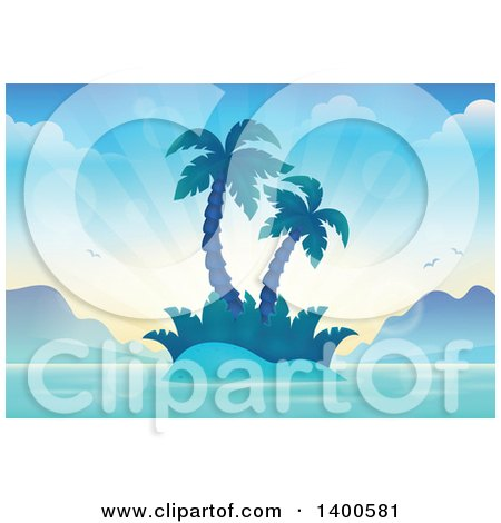 Clipart of a Tropical Island with Palm Trees and Sun Rays - Royalty Free Vector Illustration by visekart