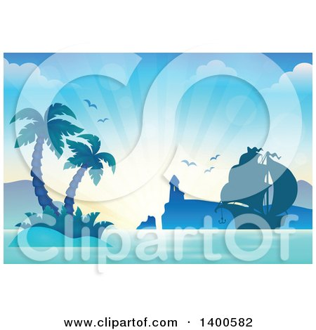 Clipart of a Silhouetted Ship near a Lighthouse and Tropical Island with Palm Trees - Royalty Free Vector Illustration by visekart
