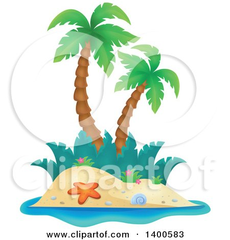 Clipart of a Tropical Island with Palm Trees - Royalty Free Vector Illustration by visekart
