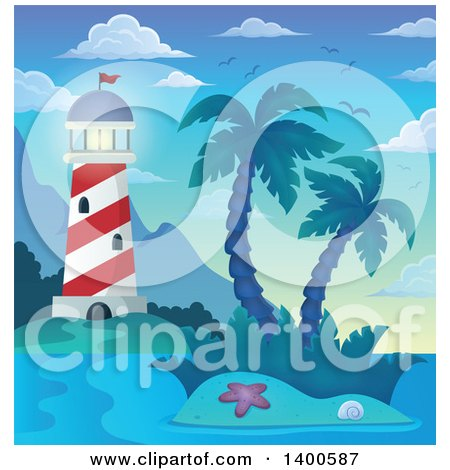 Clipart of a Tropical Island with Palm Trees and a Lighthouse - Royalty Free Vector Illustration by visekart