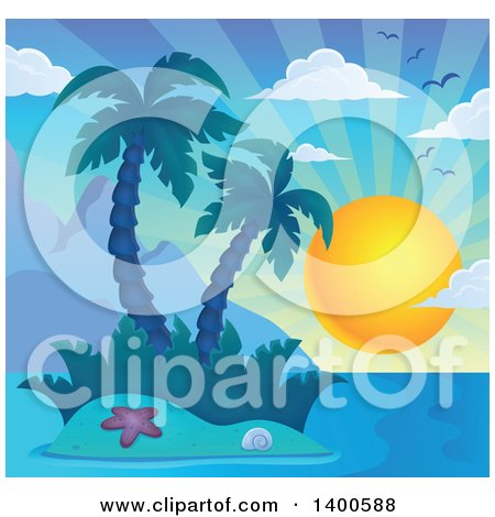 Clipart of a Tropical Island with Palm Trees and a Sun - Royalty Free Vector Illustration by visekart