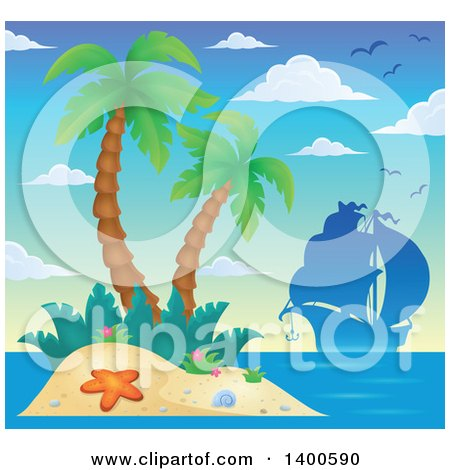 Clipart of a Silhouetted Ship near a Tropical Island with Palm Trees - Royalty Free Vector Illustration by visekart