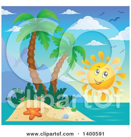 Clipart of a Happy Sun by a Tropical Island with Palm Trees - Royalty Free Vector Illustration by visekart