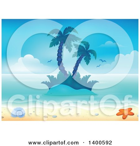 Clipart of a Background of a Sandy Beach with Palm Trees on an Island, a Shell and Starfish - Royalty Free Vector Illustration by visekart