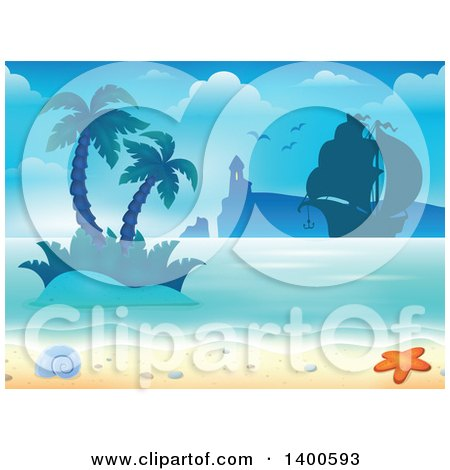 Clipart of a Background of a Sandy Beach with Palm Trees, a Boat, Lighthouse, Shell and Starfish - Royalty Free Vector Illustration by visekart