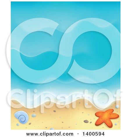 Clipart of a Background of Ocean Waves on a Sandy Beach, with Pebbles, a Shell and Starfish - Royalty Free Vector Illustration by visekart