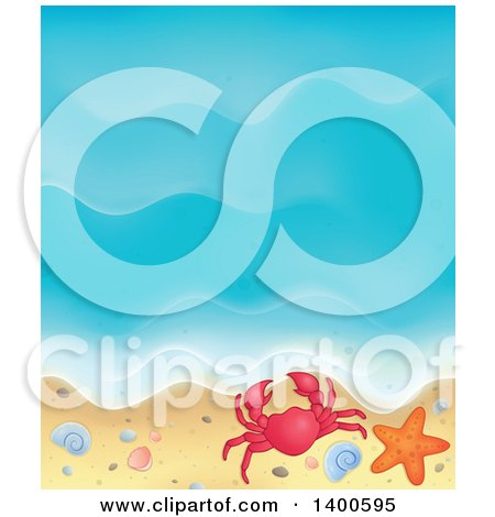 Clipart of a Background of Ocean Waves on a Sandy Beach, with Pebbles, a Shell, Crab and Starfish - Royalty Free Vector Illustration by visekart