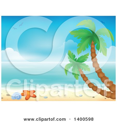 Clipart of a Background of a Sandy Beach with Palm Trees, a Shell and Starfish - Royalty Free Vector Illustration by visekart