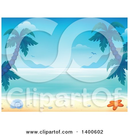 Background Of A Sandy Beach With Palm Trees Shell And Starfish