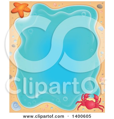 Clipart of a Background Border of a Crab, Shell, Starfish, and Sand Around Water - Royalty Free Vector Illustration by visekart