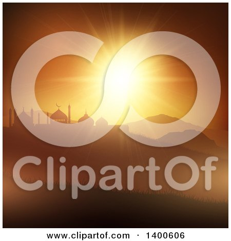 Clipart of a Ramadan Kareem Background with Silhouetted Mosques over a Sunset - Royalty Free Vector Illustration by KJ Pargeter