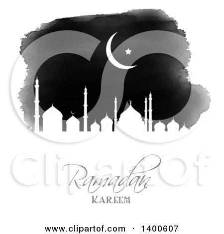 Clipart of a Black and White Watercolor Ramadan Kareem Background with a Silhouetted Mosque and Moon - Royalty Free Vector Illustration by KJ Pargeter