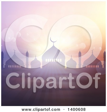 Clipart of a Ramadan Kareem Background with a Silhouetted Mosque, Bokeh Flares and Rays - Royalty Free Vector Illustration by KJ Pargeter