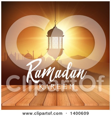 Clipart of a Ramadan Kareem Background with a Silhouetted Mosque and Lantern over a Sunset and Table - Royalty Free Vector Illustration by KJ Pargeter