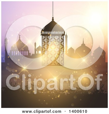 Clipart of a Ramadan Kareem Background with a Silhouetted Mosque and Lantern over Bokeh - Royalty Free Vector Illustration by KJ Pargeter